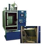 Compression molding presses with upper tilting platens for easy mold access.